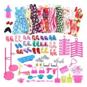 ACCESSOIRE POUPÉE 98pcs vêtements de poupée pour poupées Barbie comp