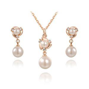 Boucle d'oreille Collier Femme Perle Pendante + Boucle d'Oreille Pe