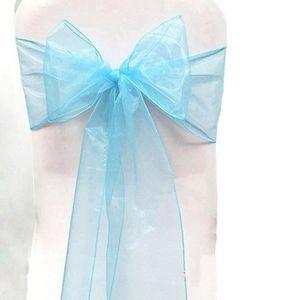 TULLE - NOEUD - RUBAN Lot 25 Noeuds Chaise Organza Bleu claire Baptême D