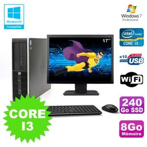UNITÉ CENTRALE + ÉCRAN Lot PC HP Elite 8200 SFF Core I3 3.1GHz 8Go 240Go