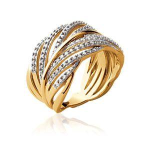 BAGUE - ANNEAU Bague gros anneau femme - plaqué or - bicolore - g