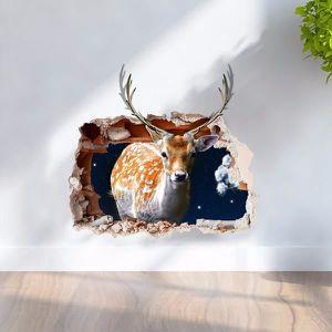 Neufu Noel Cerf Fond Ecran Décro Maison 3d Tableau Murale