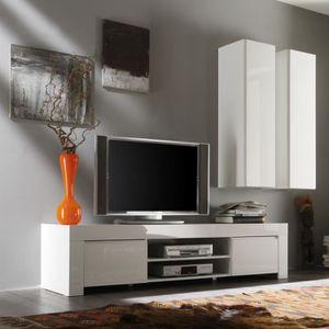 MEUBLE TV Meuble TV 2 portes 190 cm laqué Blanc brillant - P