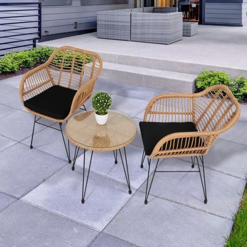 Salon de Jardin Design rotin, avec 1 Table 2 Fauteuils en Résine, pour Un Usage en intérieur et extérieur