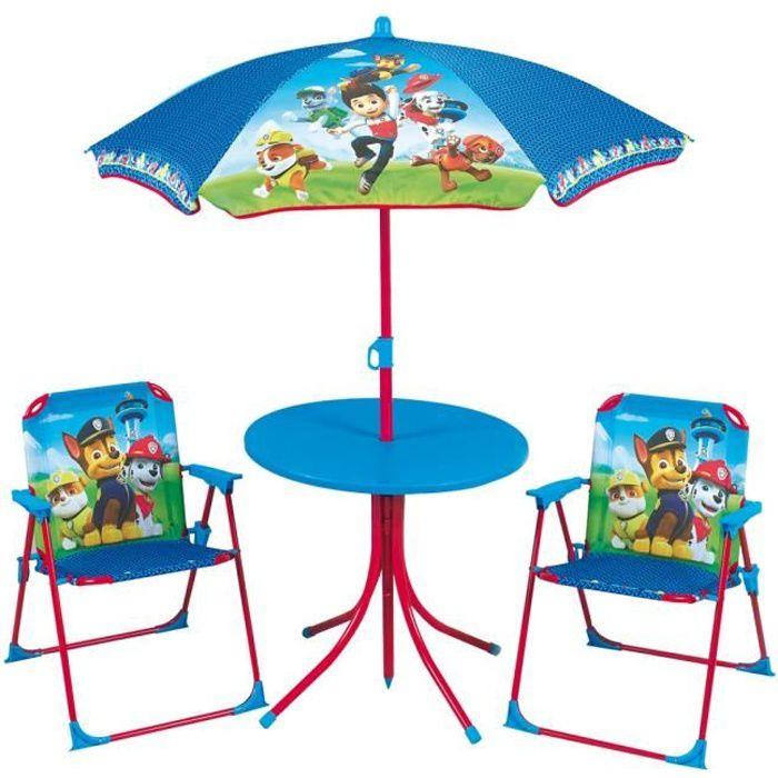 Fun House Pat Patrouille salon de jardin composé d'une table, de 2 chaises pliables et un parasol pour enfant