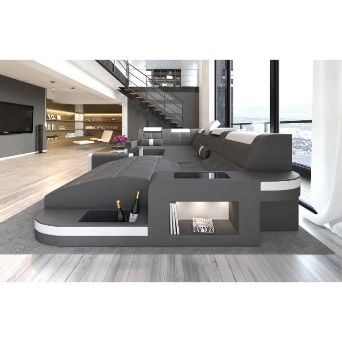 Sofa Dreams Cuir Intérieur Design Vague en Forme de U Gris-Blanc