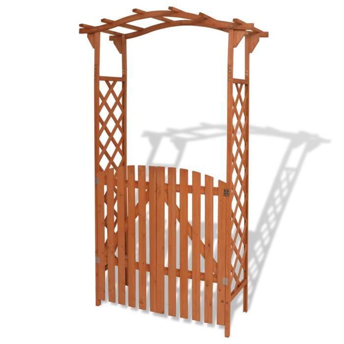 6016Vente® Arche pour jardin Voûte de jardin Elégant-Arche de jardin-Arceau à Rosiers Pergola à appentis avec portique Bois massif 1