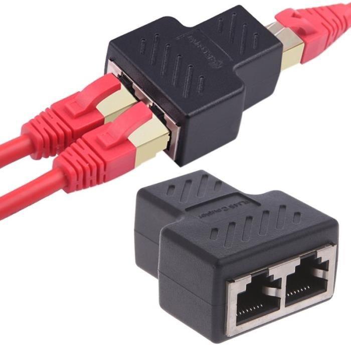1 à 2 façons Lan Câble réseau Ethernet femelle Splitter adaptateur connecteur Noir