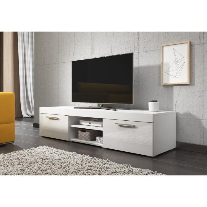 PARIS Meuble TV contemporain décor Blanc - 140 cm