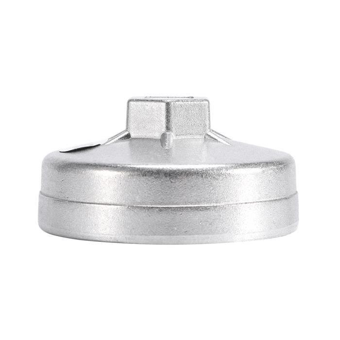 Qiilu Flûte de filtre à huile Outil de démontage de douille de clé de filtre à huile en aluminium de 74mm 14 cannelures 903