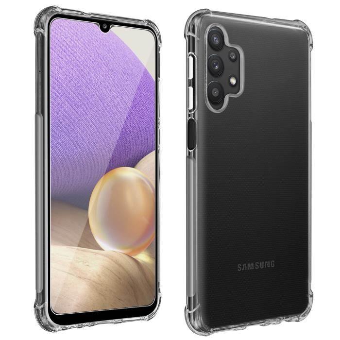 Pack Protection Samsung Galaxy A32 Coque Souple + Verre Trempé Transparent