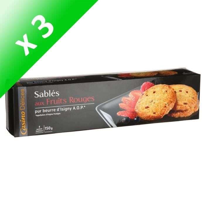 [LOT DE 3] CASINO Sablés Fruits Rouges 150g (x1)