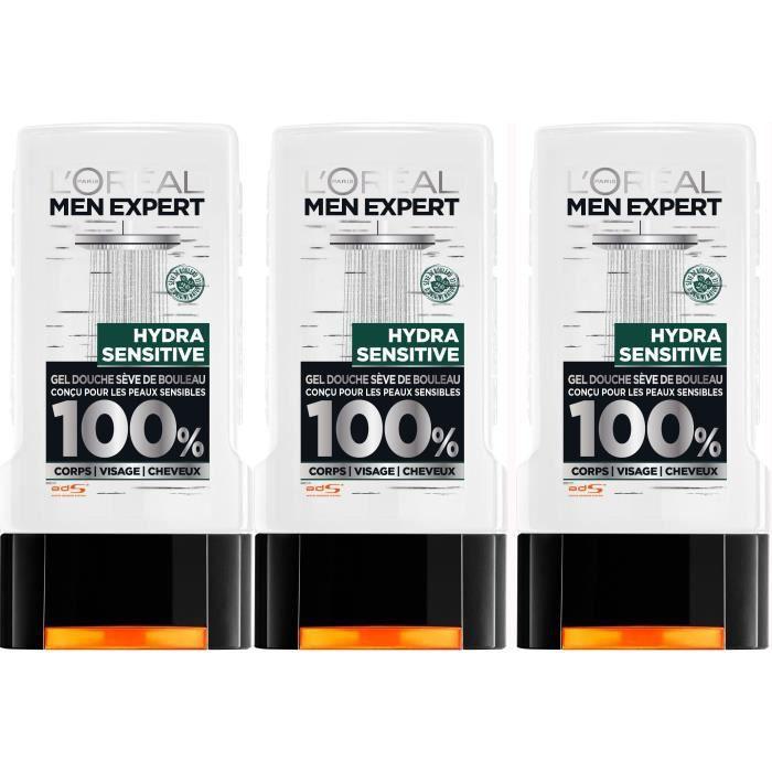MEN EXPERT Gel douche Hydra sensitive - Pour homme - Sans paraben - 300 ml (Lot de 3)