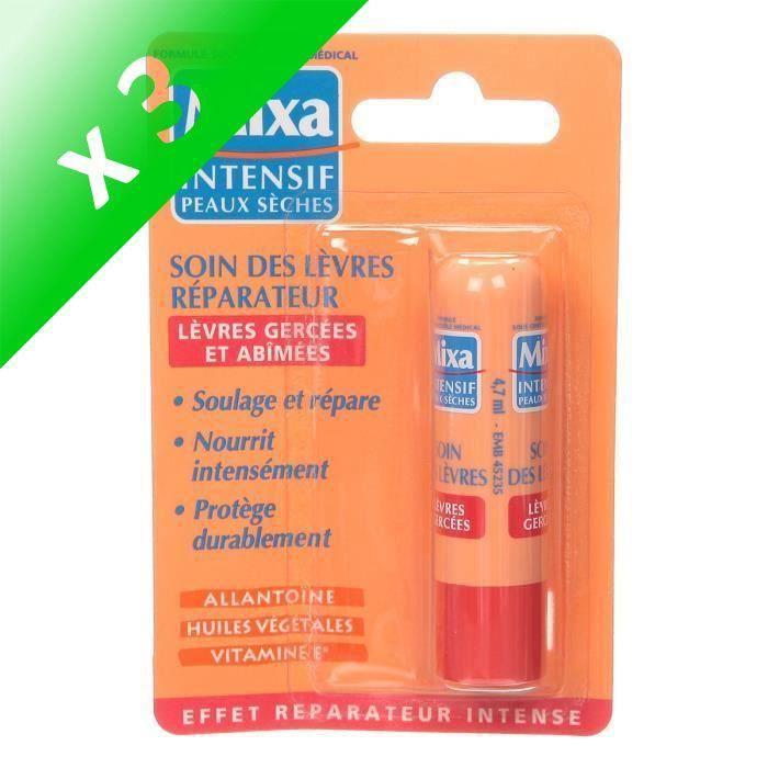 MIXA Soin des lèvres réparateur pour peaux sèches - 4,7 ml (Lot de 3)