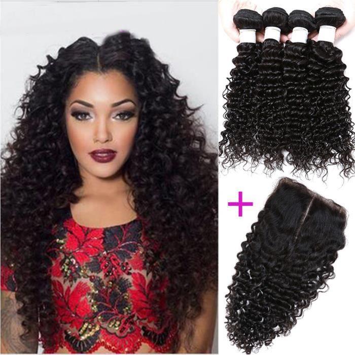 4 piece 12 pouces tissage bresilien avec closure 10 pouces curly cheveux naturel,100grams/piece