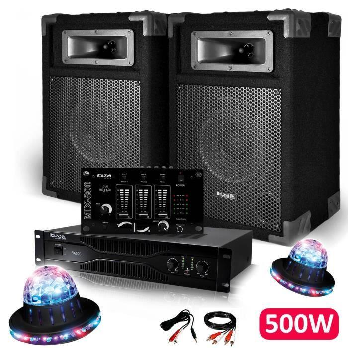Pack Sono Dj PA 500W 2 Enceintes + Amplificateur 500W + Table de mixage + Câblages + 2 Effets ROUNDIAMS LED