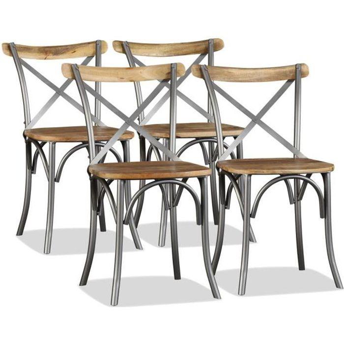 Lot de 4 Chaise de salle à manger - Chaises à dîner contemporain Bois de manguier massif et acier