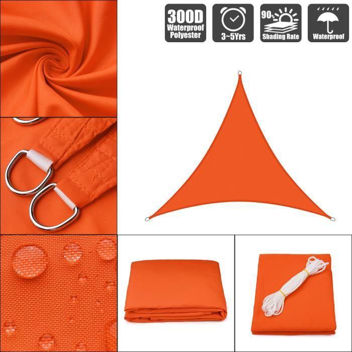 TEMPSA Triangle Voile D'Ombrage Orange Toile Solaire Imperméable Orange 10x10x10` / 3x3x3m
