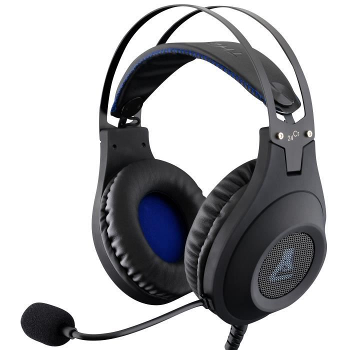 The G Lab Casque Gaming Korp Chromium Xtra Bass sound system Impédance : 32O Taille drivers : Ø 50 mm