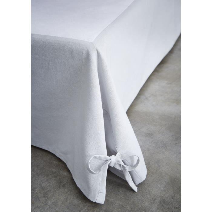 Cache sommier avec nouettes - 140 x 190 cm - Gris clair