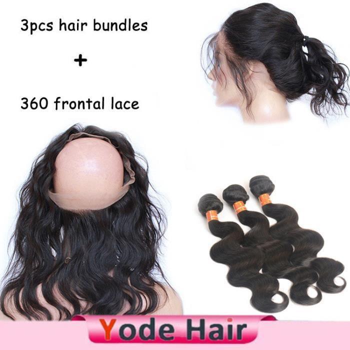 (10 12 14+8-closure)Body Wave brésilienne cheveux naturels perruque+360 Lace Frontal Closure