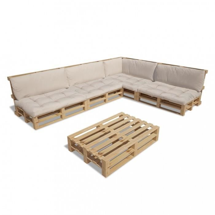magnifique ensemble salon d 39 exterieur en palette avec 9 coussins blanc casse 15 pcs achat. Black Bedroom Furniture Sets. Home Design Ideas