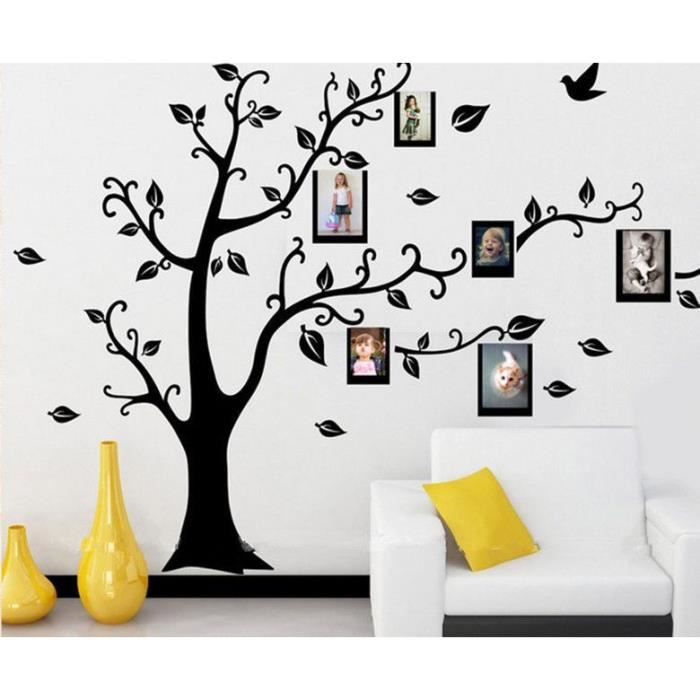 sticker mural arbre cadres photos noir achat vente stickers cdiscount. Black Bedroom Furniture Sets. Home Design Ideas