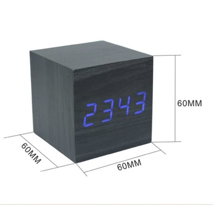 horloge t veil thermom tre bois digital led noir achat vente horloge bois cdiscount. Black Bedroom Furniture Sets. Home Design Ideas