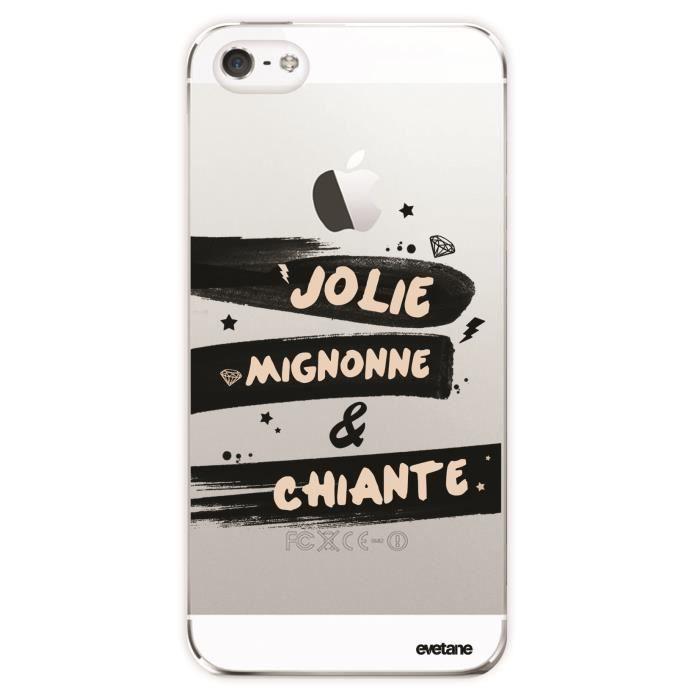 Coque iPhone SE / 5S / 5 rigide transparente Jolie