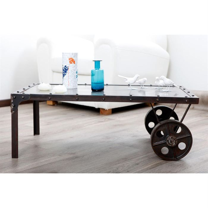 table basse industriel achat vente table basse industriel pas cher cdiscount. Black Bedroom Furniture Sets. Home Design Ideas