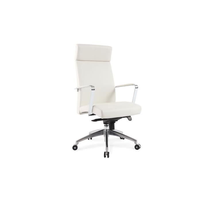 fauteuil de bureau cuir blanc giovanni achat vente. Black Bedroom Furniture Sets. Home Design Ideas