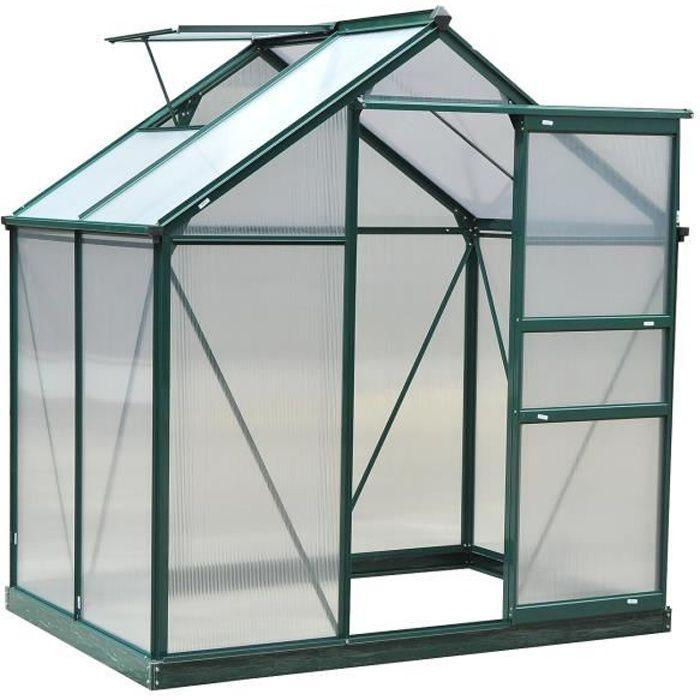 Serre de jardin aluminium polycarbonate 2,51 m² dim. 1,9L x 1,32l x 2,01H m  lucarne, porte coulissante + fondation incluse alu.