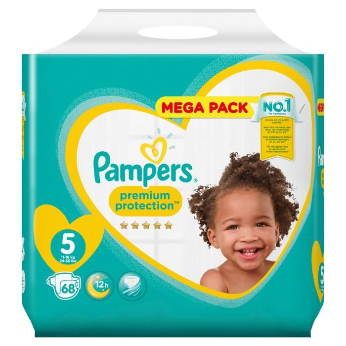 Pampers Premium Protection Taille 5 11 à 16 Kg 68 Couches Mega