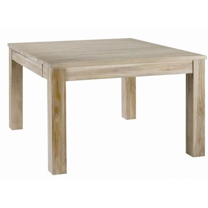 Table manger carr e rallonge en teck teint achat for Table carree avec rallonge