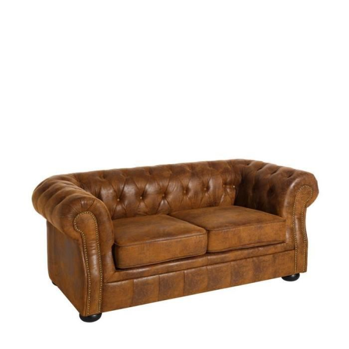 Canap 2 places chesterfield tissu marron stroke l 168 for Canape 75 cm