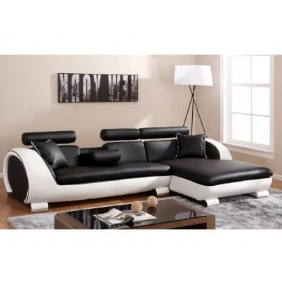 canap d 39 angle commandeur assise noire et contour achat vente canap sofa divan cdiscount. Black Bedroom Furniture Sets. Home Design Ideas
