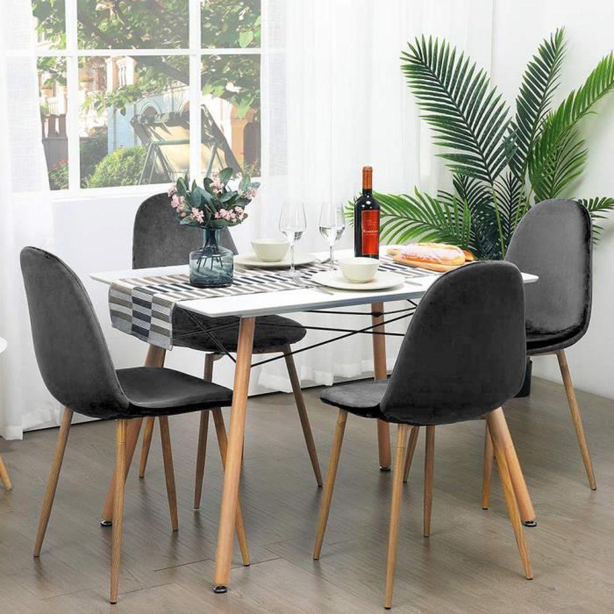 Besta Salle A Manger jeobest® lot de 4 chaises de salle à manger - velours gris anthracite -  scandinave - l 43 x p 55 cm