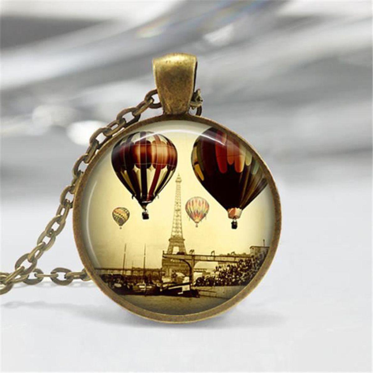 Vitrage pour Fille Pour Femmes Hot Air Balloon Collier Pendentif Bijoux Chaîne Longue