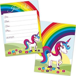Support à décorer Kids Rainbow Unicorn Birthday Invitations For Girl
