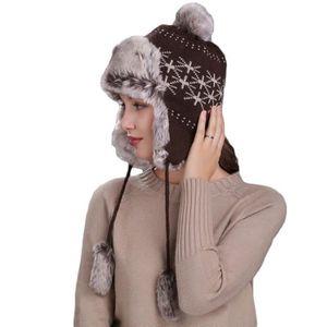 BONNET - CAGOULE Bonnet en Tricot Double Polaire Femme Cache Oreill
