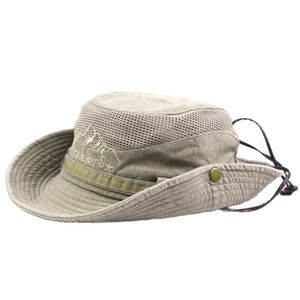 CHAPEAU - BOB Hommes Coton broderie Visor Mesh Bucket Chapeaux c