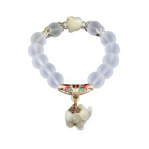 """Perles Pierre Elephant 8 mm Bracelet Breloque Jaune//Argent Coupe jusqu/'à 7/"""""""