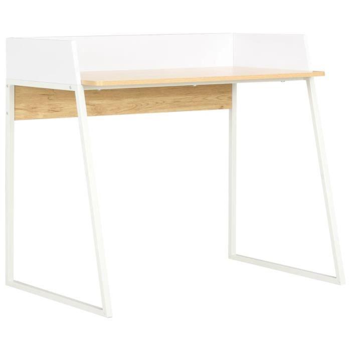 Bureau Table d'ordinateur Style scandinave Style scandinave Blanc et chêne 90 x 60 x 88 cm