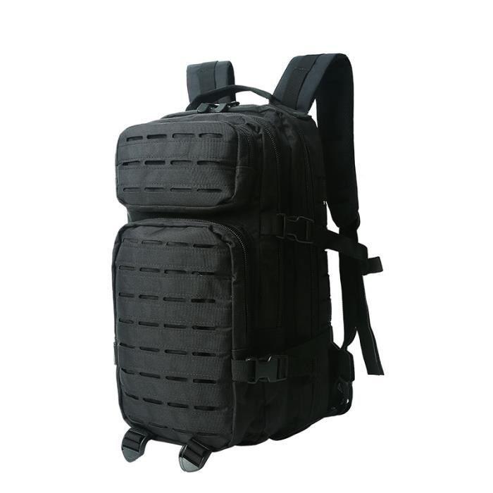 black 30 - 40L -Sac à dos militaire tactique pour hommes, capacité de 30l, dos souple, extérieur, étanche, anti insectes, randonnée,