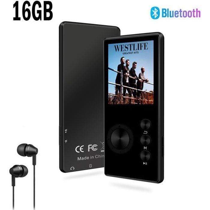 SOTEFE® 16Go Lecteur MP3 Bluetooth Portable Métal Lecteur MP3 Radio FM Vidéo Hi-Fi Musique Super Son Enregistr Support Micro SD Cart