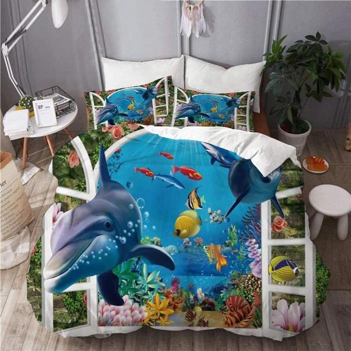 Housse de couette, dauphin mer animal vie marine fleur de vigne de corail tropical à l'extérieur du mur de briques 140X200cm[1278]