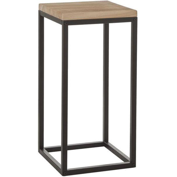 Mica Decorations Oskar Table d'appoint - L30 x B30 x H62 cm - Bois/Métal - Noir