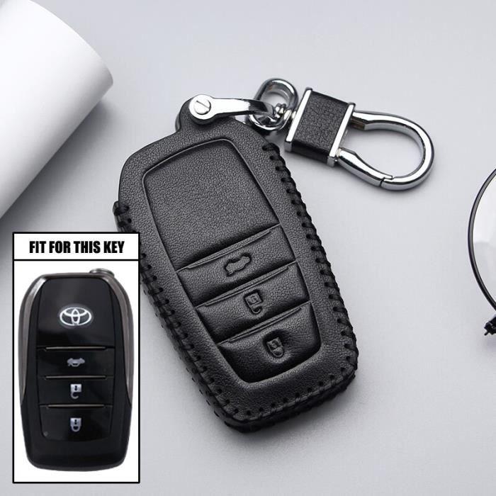 Coque clé,Pour Toyota Avensis Corolla Prius Camry Vitz RAV4 C HR Yaris Auris voiture porte clés porte - Type 3Button Black Line #B