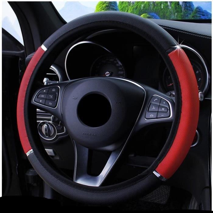 Couvre volant,Couvre volant en cuir antidérapant pour Fiat 500 600 Tipo Punto stilo Freemont Cross Coroma Panda idée - Type Rouge