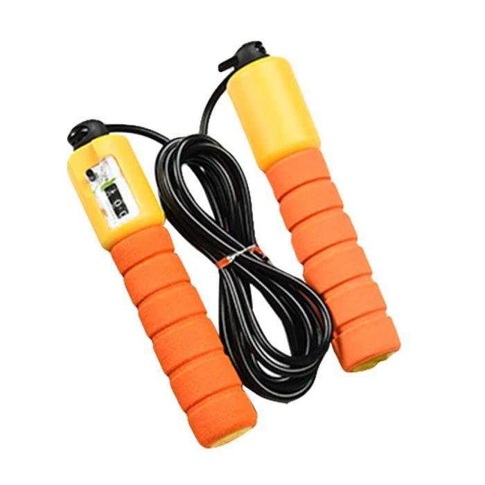 Corde à Sauter Numérique Cordes à Sauter Réglables avec Compteur de Calories/Minuterie/Réglage Du Poids pour Les Enfants Orange